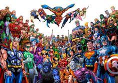 marvel dc comics crossover \ marvel dc comics + marvel dc comics wallpaper + marvel dc comics art + marvel dc comics the avengers + marvel dc comics beautiful + marvel dc comics crossover + marvel dc comics drawings + marvel dc comics funny Marvel Dc Comics, Hq Marvel, Dc Comics Superheroes, Dc Comics Art, Marvel Heroes, Captain Marvel, Avengers Vs Justice League, Avengers Art, Batman Vs