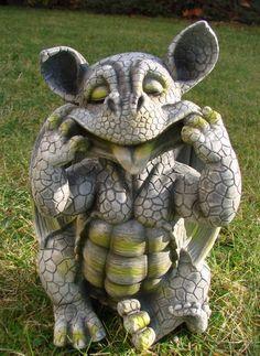 Her tongue out Baby Dragon Figure Gargoyle Garden Ornament
