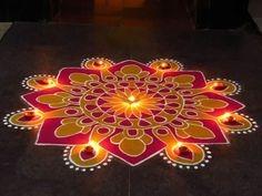 Discover beautiful diwali rangoli designs for your house. These simple rangoli designs can be made during festivals like Dussehra, Ugadi and Holi too. Rangoli Designs Latest, Latest Rangoli, Colorful Rangoli Designs, Rangoli Designs Diwali, Rangoli Designs Images, Kolam Rangoli, Beautiful Rangoli Designs, Indian Rangoli, Rangoli 2017