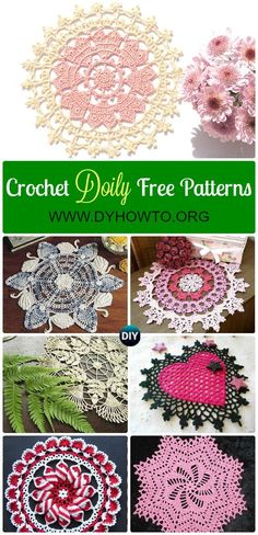 Collection of Crochet Doily Free Patterns: Swan doily, pinwheel doily, flower doily, heart doily, lace doily, table runner, table cloth via @diyhowto