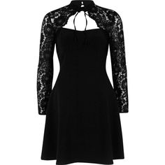 River Island Black lace long sleeve choker skater dress (150 AUD) ❤ liked on Polyvore featuring dresses, black, skater dresses, women, long-sleeve lace dresses, skater skirt, long circle skirt, lace skater dress and circle skirt