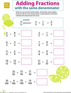 Worksheets: Introduction to Fractions: Adding Fractions extra practice for child! Fractions For Kids, 4th Grade Fractions, Adding And Subtracting Fractions, Fractions Worksheets, Fourth Grade Math, Math For Kids, Equivalent Fractions, Addition Worksheets, Introducing Fractions