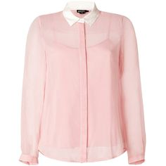 DKNY Pale Rose Contrast Collar Silk-Blend Blouse ($310) ❤ liked on Polyvore