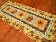 Rustic Sunflower Table Runner in Gold Brown and Blue Quilt