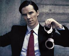 Benedict Cumberbatch has a pair of handcuffs. That's hot... :)