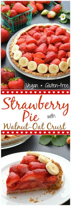 Easy Vegan, Gluten-Free Strawberry Pie with Walnut-Oat Crust. This pie is super simple to prepare and, hands down, my favorite strawberry pie! Piled high with fresh strawberries and an amazing walnut-oat crust, this will be your new go to summer pie!