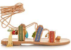 Sandales Frida en cuir naturel, coton et charm's Elina Linardaki