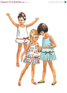 ON SALE Vintage 1960s McCalls 6831 Girls Pleated One Piece Dress or Playsuit Romper with Bloomers Sewing Pattern Size 4
