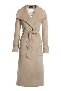 SENTALER Luxury Outerwear Long Wide Collar Wrap Coat
