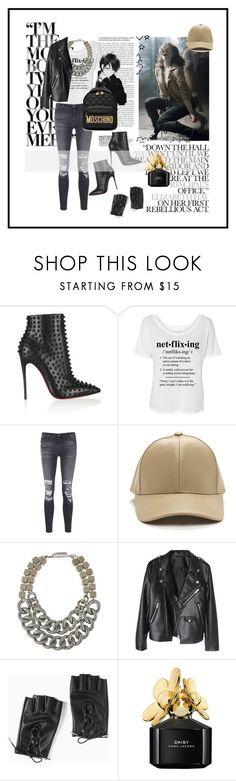 """""""Oh yes babe, let's dance!"""" by chrismay-468 ❤ liked on Polyvore featuring Christian Louboutin, J Brand, Lafayette 148 New York, Torrid, Marc Jacobs and Moschino"""