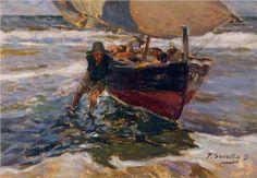 Beaching the Boat (study) - Joaquin Sorolla