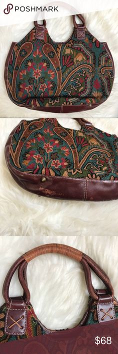 "Isabella Fiore vintage boho bag Adorable leather bag!  Scuffing in bottom but inside is clean.  Measures 15"" x 10"",  great colors Isabella Fiore Bags Hobos"
