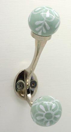 These Please Ceramic Coat Hooks Vintage Style Shabby Chic Metal Peg | eBay