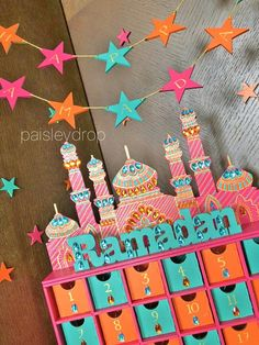 Ramadan Advent Calendar & Decorations Set - S U N S E T Colours - Orange, teal, pink & gold CALENDAR: Drawers interior size - width cm, height cm, length approximately Frame size - height width length approximately Overall height including mosque - Ramadan Activities, Ramadan Crafts, Ramadan Decorations, Countdown Calendar, Advent Calendar, 2019 Calendar, Pink Mosque, Orange And Turquoise, Painting Patterns