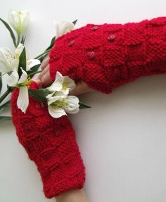 Red LADYBIRD Gloves  Wrist WarmersReady For by knittingshop, $22.00
