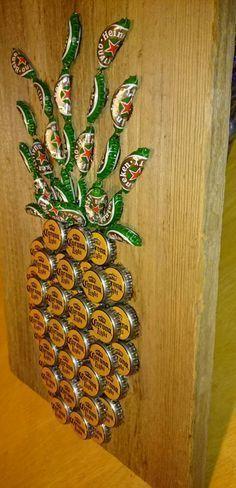 Beer Bottle Cap Sea Turtle On Painted Wood 12x 12 By