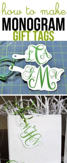 Christmas gift wrap idea How to make monogram gift tags using your computer. Holiday gift wrapping idea. | In My Own Style #giftwrapping