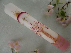 Patenkerze Kreuz pink gold mit Symbolen Patenkerze Mädchen 160x60 mm