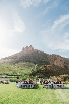 Saddlerock Ranch outdoor wedding ceremony // photo by Sweet Little Photographs, styling by Sitting in a Tree Events, flowers by The Little Branch // View more: http://ruffledblog.com/copper-and-white-malibu-wedding/