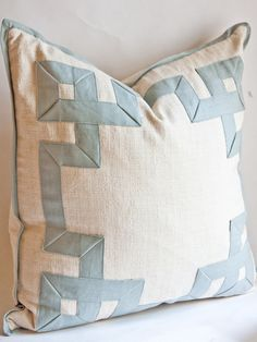 "Raffia Fretwork Pillow, by And George - And George on Taigan  Slubby Linen in Cream, Fretwork in Celadon  22"" x 22'"