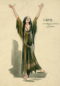 Edyth Walker as Elektra (Costume Design by Attilio Comelli at Covent Garden- 1910)  Stunning!!!!