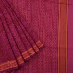 Khoj Merlot Handprinted Lightweight Maheshwari Silk Cotton Saree with Floral Motifs 10002398 - AVISHYA