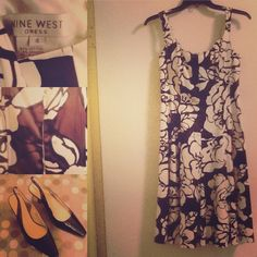 NINE WEST  Tropical Print Sundress Nine West beautiful cotton dress with straps is fitted over the bust area with boning, also tucks at waist, then flares out.  So flattering, and keeps its shape with the light boning and the tucks.  The print is cocoa and black on white.... Hibiscus? Nine West Dresses Midi