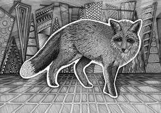 Rev, fox, zentangle, stavern, drawing, tegning, illlustrasjon, illustration