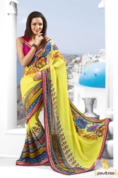 #Pavitraa Yellow with Pink #Lovely #Printed #Sarees Rs 999.9