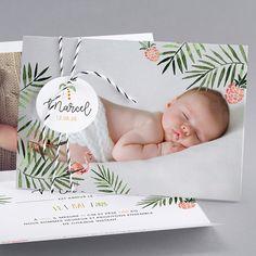 Faire-part de naissance personnalisés, faire-part original, tropical fpc