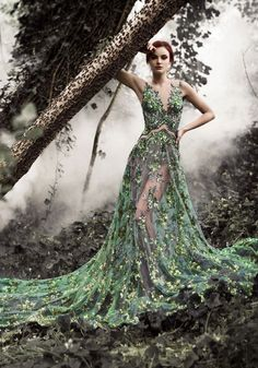 Green Leaf Sheer Gown