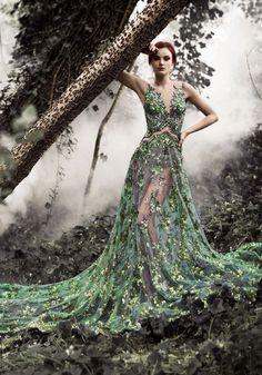 Green leaf sheer gown