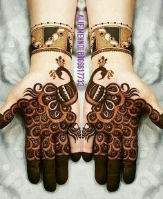 Check beautiful & easy mehndi designs 2020 ideas for mehandi ceremony. Save these latest bridal mehandi designs photos to try on your hands in this wedding season. Henna Hand Designs, Dulhan Mehndi Designs, Mehandi Designs, Mehendi, Mehndi Designs Finger, Peacock Mehndi Designs, Latest Bridal Mehndi Designs, Stylish Mehndi Designs, Mehndi Designs For Beginners
