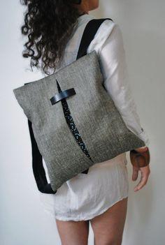Minimal backpack & messenger bag Gray Jute bag Black canvas Cotton fabric Comfortable handmade women bag Stylish College bag Gift for her: