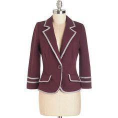 ModCloth Scholastic Short Length 3 Academia Ahoy Blazer (355 MXN) ❤ liked on Polyvore featuring outerwear, jackets, blazers, blazer, apparel, purple, purple blazer, short jacket, pocket jacket and single button jacket