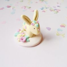 Pastel Bunny Figurine Handmade Polymer Clay Rabbit by Shymori