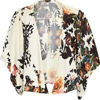 Cream floral print boxy kimono