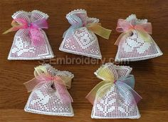 Crochet lavender sachet embroidery set - Neat idea for filet crochet gifts for Mother/in laws/Xmas