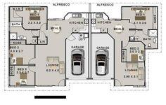 5 Bed 2 bath duplex design 3 x 2 bedroom duplex 272 4 Bedroom house plans Double Garage Home Plans Plan Duplex, Duplex Floor Plans, House Floor Plans, Duplex Design, Design Moderne, House Design, Design Home Plans, Architecture Design, Residential Architecture