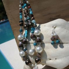 PearlsPistolsOutlaws Brown and turquoise pearl animal Print necklace