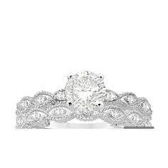 Allurez Antique Pave Diamond Engagement Ring Set Palladium (0.20ct) ($1,020) ❤ liked on Polyvore