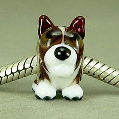 PUPPY DOG Handmade Lampwork BHB Universal European Charm Big Hole Bead SRA Gelly