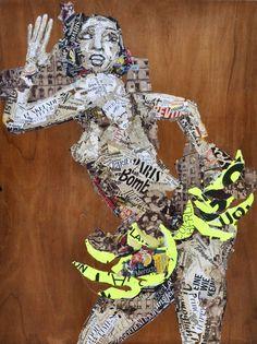 """Saatchi Art Artist Ines Kouidis; Collage, """"Revue Tam Tam"""" #art"""