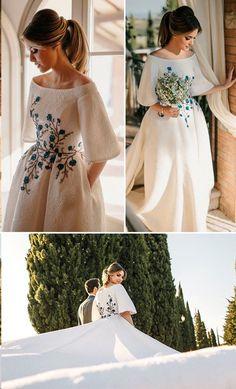 Beautiful Wedding Dresses Bateau Embroidery Romantic Half Sleeve Bridal Gown - love my fashion - brautkleid Half Sleeve Dresses, Wedding Dress Sleeves, Modest Wedding Dresses, Boho Wedding Dress, Simple Dresses, Boho Dress, Bridal Dresses, Lace Dress, Lace Wedding