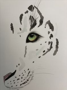 Watercolour painting of snow leopard Snow Leopard Drawing, Snow Leopard Tattoo, Leopard Tattoos, Night Tattoo, Leopard Eyes, Cat Tattoo Designs, Watercolour Painting, Watercolors, Watercolor Tattoo