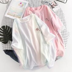 Free shipping pink&white loose mesh t shirt Cute Lazy Outfits, Crop Top Outfits, Cool Outfits, 90s Grunge, Soft Grunge, Aesthetic T Shirts, Aesthetic Clothes, Girls Fashion Clothes, Teen Fashion Outfits
