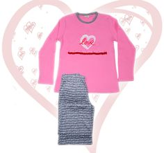 Women's Cotton Pajamas because LOVE is all around ♪♫ Cotton Pyjamas, Pajamas Women, Graphic Sweatshirt, My Favorite Things, Sweatshirts, Sexy, Sweaters, Kids, Fashion