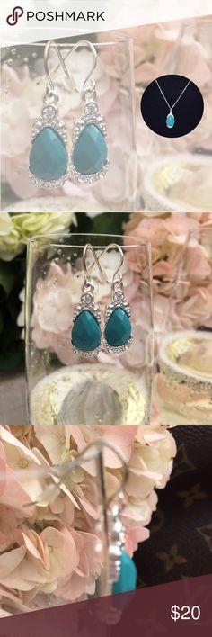 "AVON Stimulate Silver & Turquoise Set AVON Stimulate Silver & Turquoise Set.   Size: 16 1/2"". - 19"" Earrings are 1"" plus hang Jewelry"