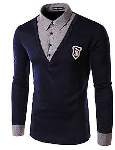 Polo De los hombres Casual Un Color - Algodón - Manga Larga Long Sleeve, Sleeves, Mens Tops, T Shirt, Fashion, Men's Clothing, Men, Supreme T Shirt, Moda