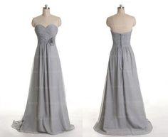 Grey bridesmaid dress, long bridesmaid dress, chiffon bridesmaid dres…
